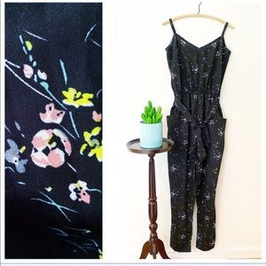 City Chic Floral Belted Strappy Jumpsuit NWOT